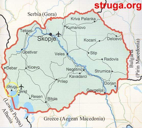 makedonija mapa Geografija na Struga makedonija mapa